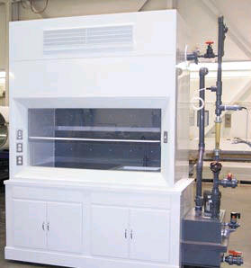The fully equipped Fabridated Plastics Fume Hood and Cabinet includes a recirculation tank and all of the system controls.